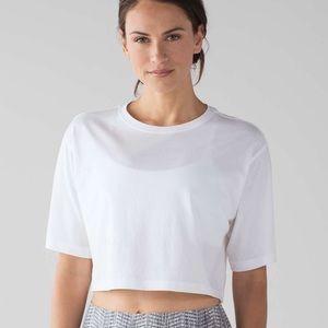 NWT Lululemon White Crop Tee Shirt